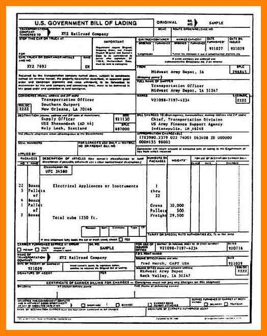 7+ bill of lading sample | addressing letter