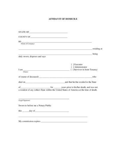 Affidavit of Residence | LegalForms.org