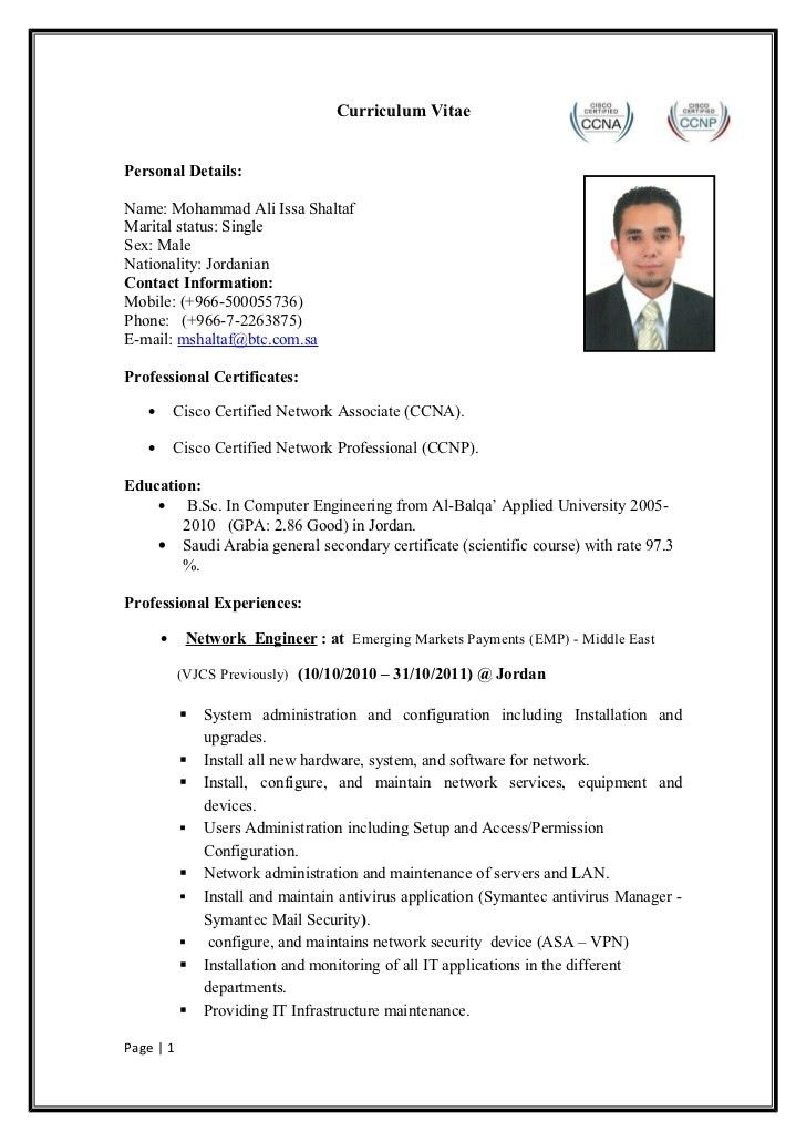 Sample Resume For Freshers Ccna - Templates