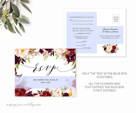 Burgundy Floral RSVP Postcard Template Printable double sided