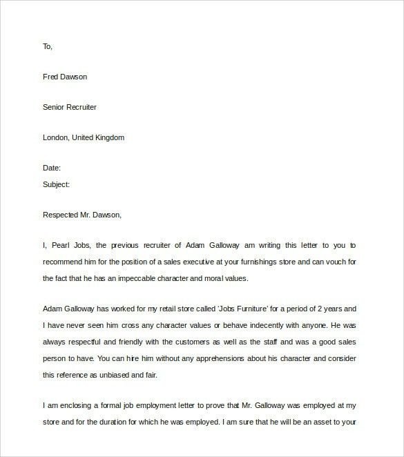Sample Reference Letter 14 Free Documents In Word Character Letter ...