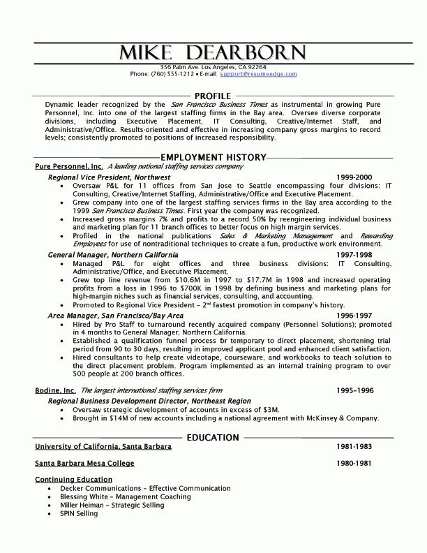 Resources Executive Resume