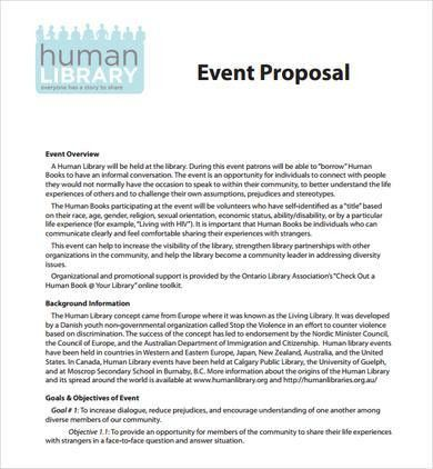 Event Proposal Sample. Sample Event Proposal Template - Free ...