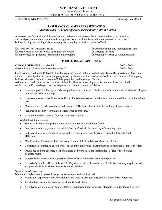 Claims Representative Resume Sample - SampleBusinessResume.com ...