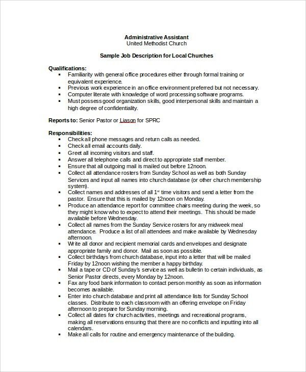 Job Description Template Word - 7+ Free Word Documents Download ...