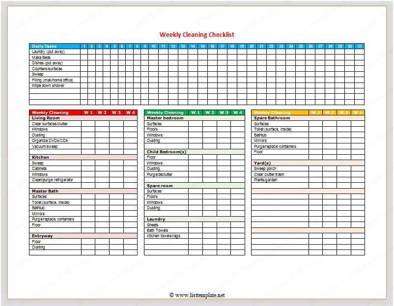 Weekly Cleaning Checklist (For Word) - List Templates