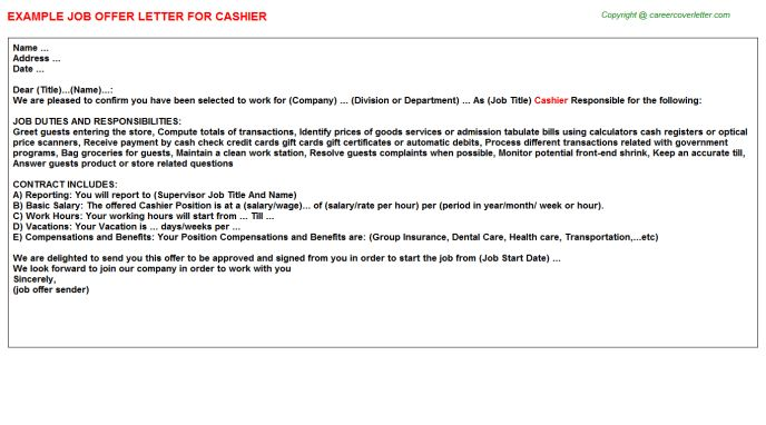 Cashier Offer Letters