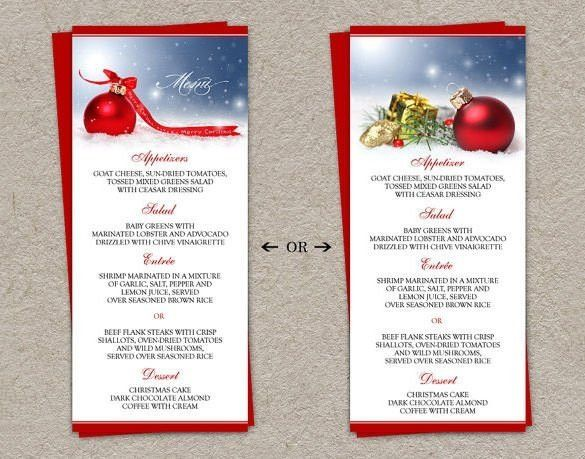 Christmas Dinner Menu Template 2017 | Best Template Examples