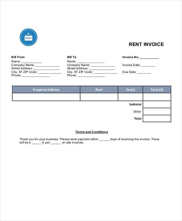 Rent Invoice Templates - 8 Free Samples, Examples Format Download ...