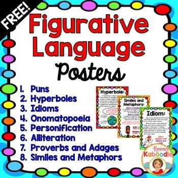 FREE Figures of Speech Poster Set!Each figurative language poster ...