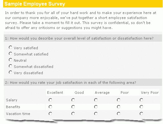 Sample Employee Survey :: Easy, Effective, Insightful :: Ennect Survey