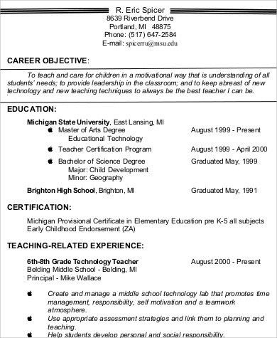 high school teacher resume education resume objectives template ...
