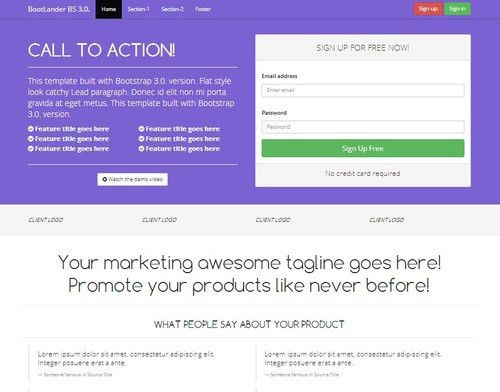 Bootstrap 3.0. landing page Sign Up form responsive template ...