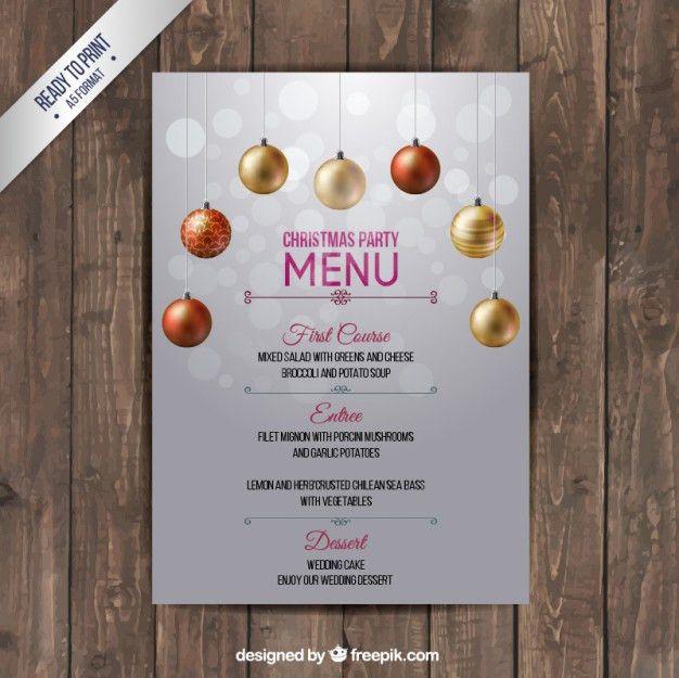 Christmas menu template Vector   Free Download