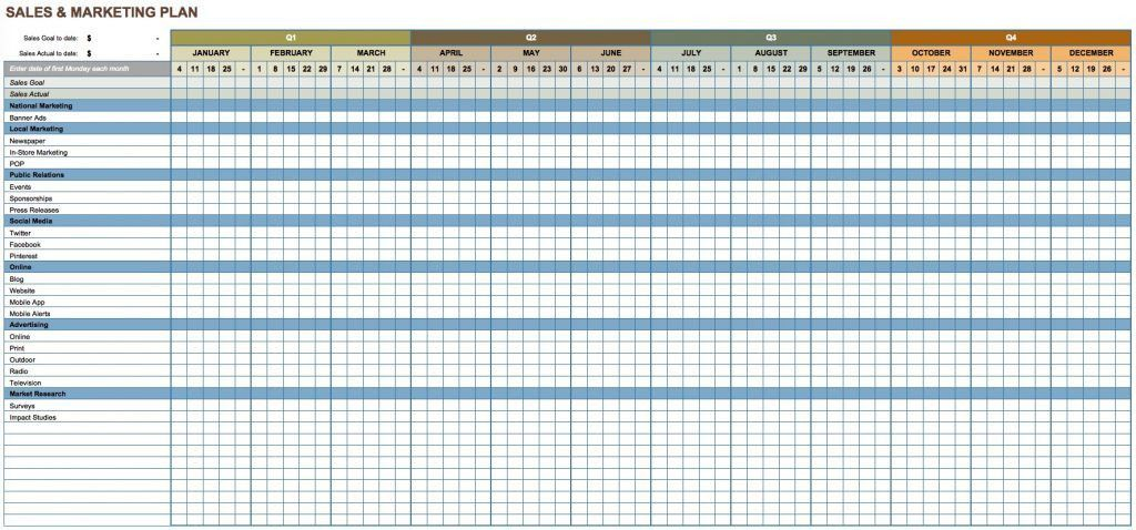Free Marketing Plan Templates For Excel Smartsheet This Sales And ...