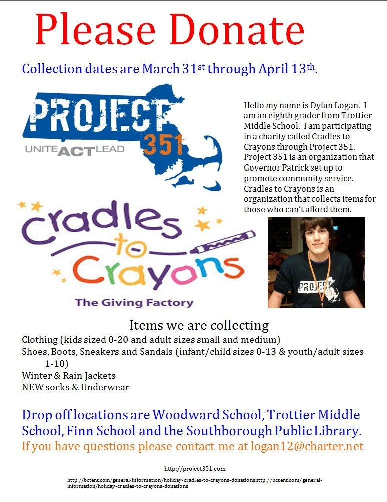 Cradles to Crayons – collection drive for essential clothing and ...