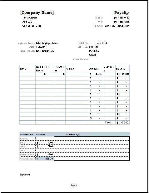 Printable Payslip Template Example with Job Title and Employee ...