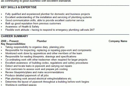 Master Plumber Resume. master plumber business owner resume ...