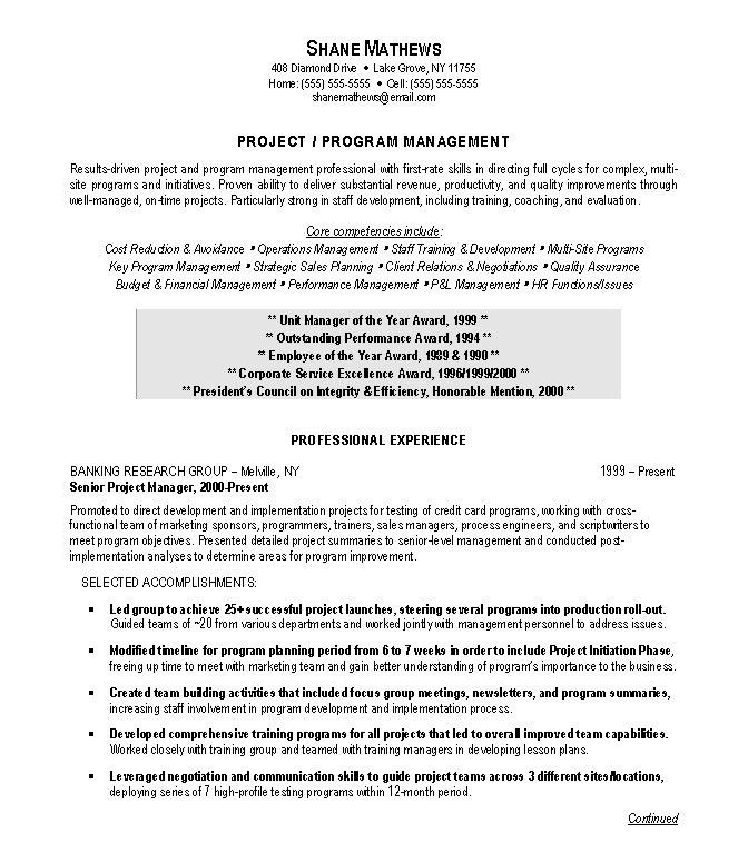 management cv template managers jobs director project management ...