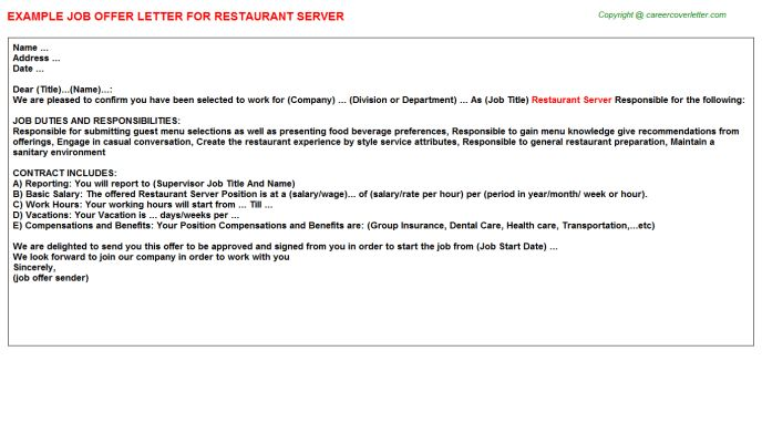 Subway Restaurant Offer Letters