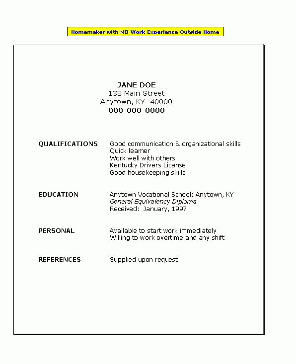 Resume for Homemaker with No Work Experience | Job Search ...