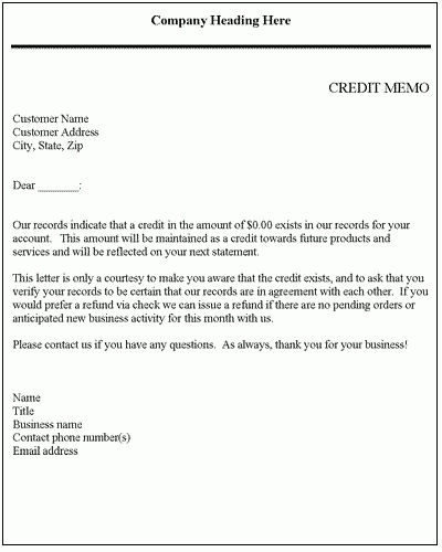 Credit Memo - Credit Letter Template | Letter templates, Business ...