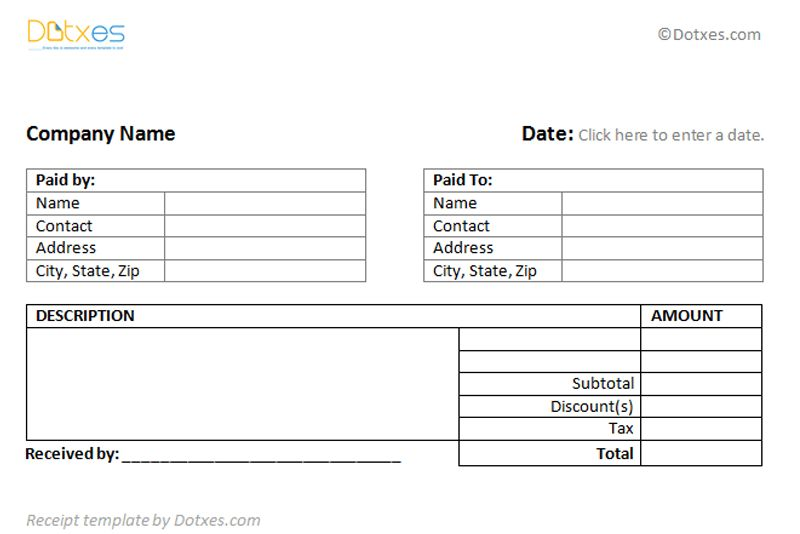 Receipt Templates - Dotxes