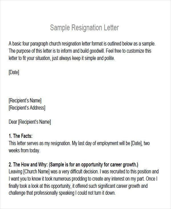 Board Member Resignation Letter Sample. Simple Resignation Letters ...