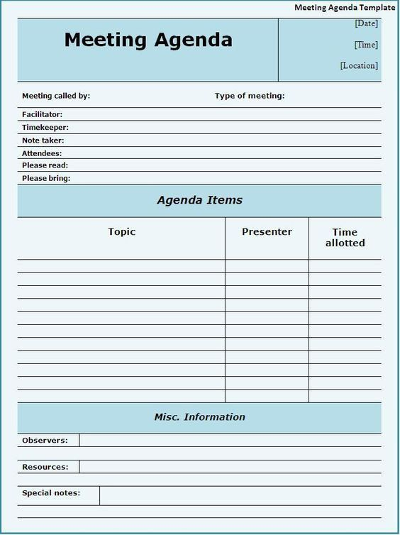 Meeting Planning Template. Event Committee Meeting Agenda Template ...