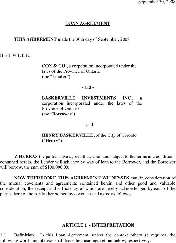 Loan Contract Template. Construction Contract 9+ Loan Contract ...