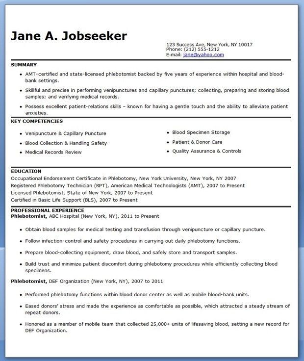 Phlebotomist Resume Sample Free | Creative Resume Design Templates ...
