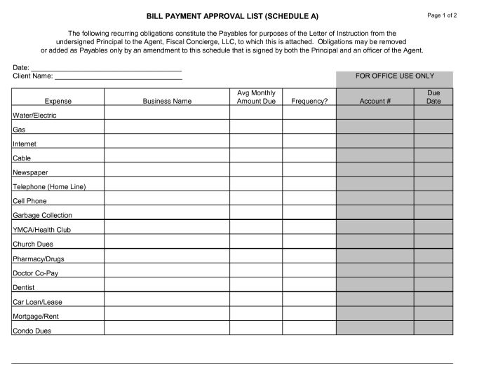 Bill Payment Template. bill payment schedule template word excel ...