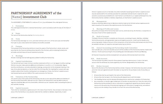 5+ partnership agreement template word | Outline Templates