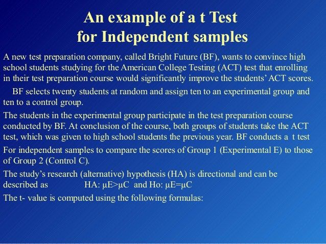 Day 11 t test for independent samples