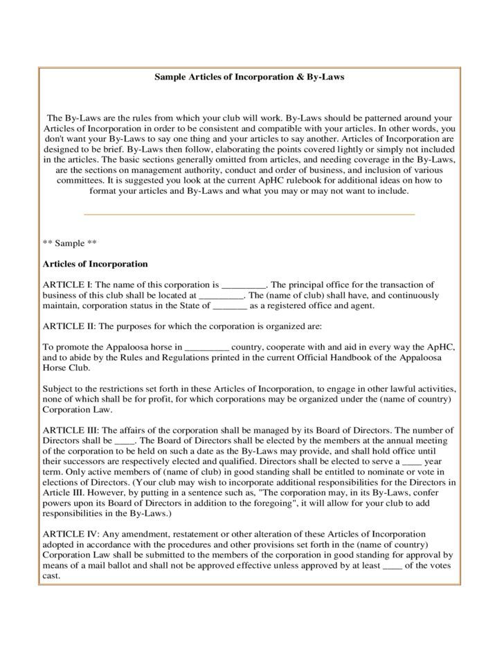 Sample Articles of Incorporation and By-Laws Free Download