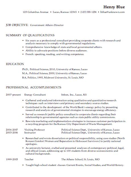 Sample Resume For Government Jobs | Sample Resumes