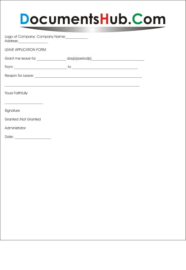 Leave Application Form for Employees