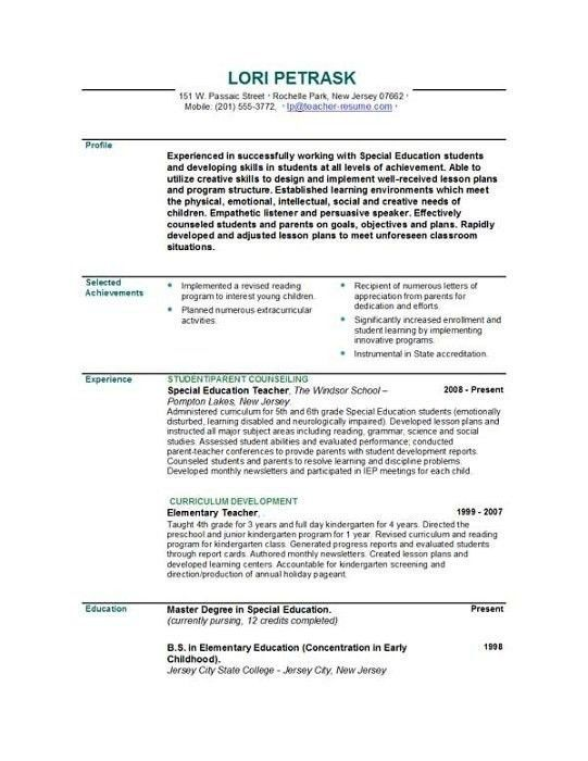 Resume Templates For Teachers | Template Idea