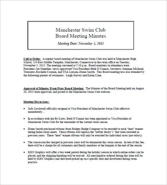 Club Meeting Minutes Template – 6+ Free Sample, Example Format ...