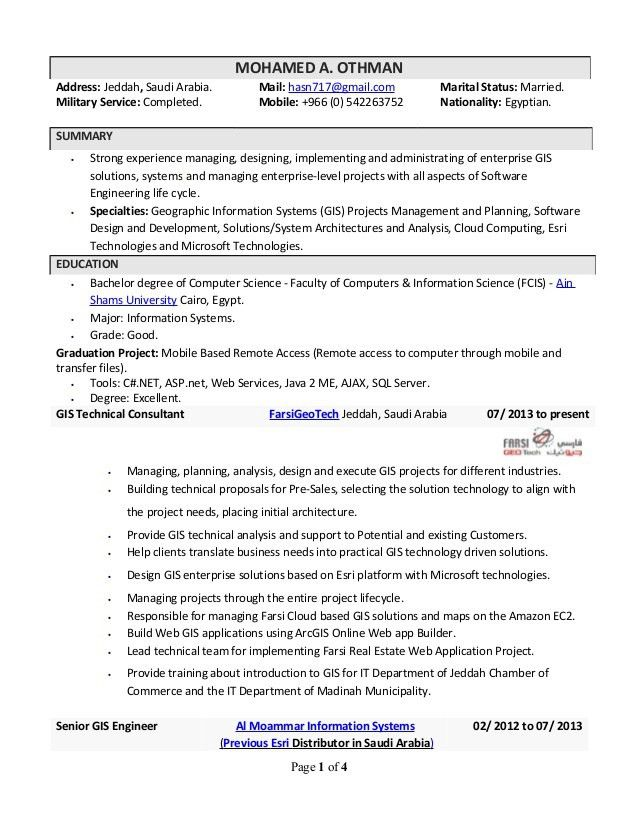 GIS Technical Consultant / Analyst CV