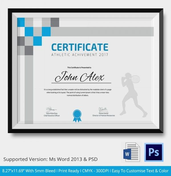 Athletic Certificate - 5+ Word, PSD Format Download | Free ...