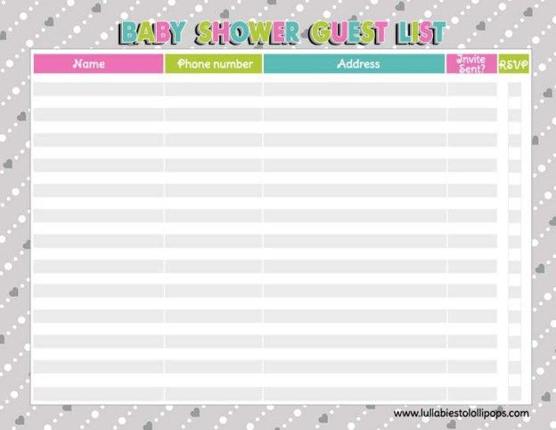 Free Printable Baby Shower Checklist | Baby Shower Guest List: Who ...