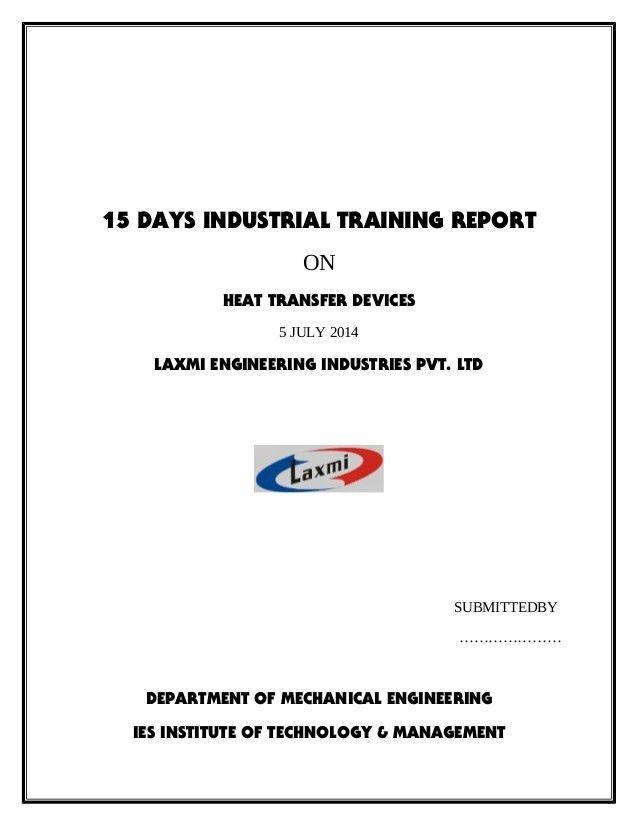 Vocational training report format