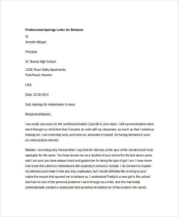 Professional Apology Letters - 10+ Free Word, PDF Format Download ...