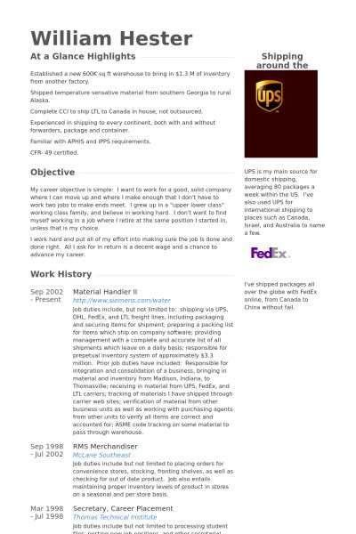 Material Handler Resume samples - VisualCV resume samples database