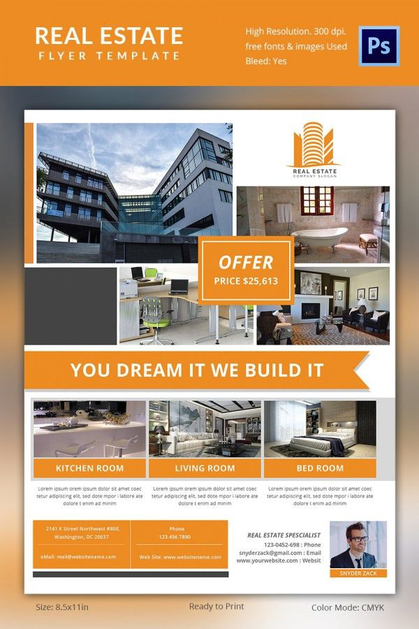 real estate brochure templates psd free download real estate flyer ...