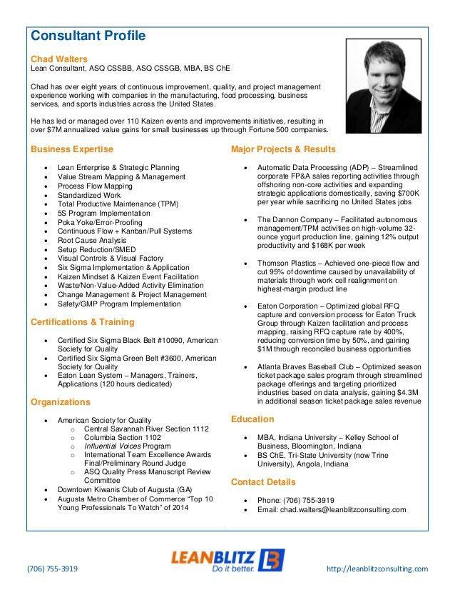 Lean Blitz Consultant Profile - Chad Walters