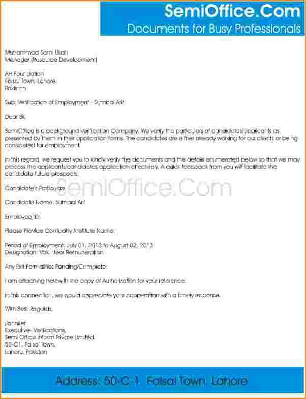 proof of employmentsample employment verification letter form ...