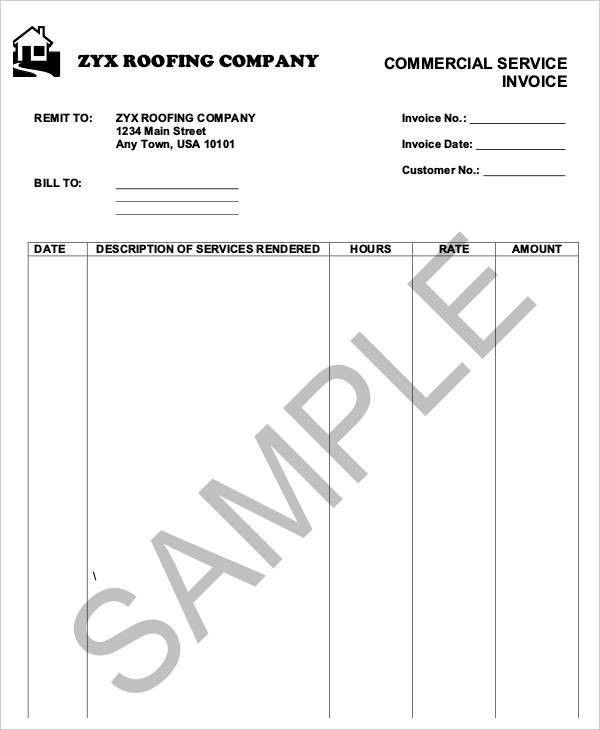 6+ Roofing Invoice Templates - Free Sample, Example Format ...
