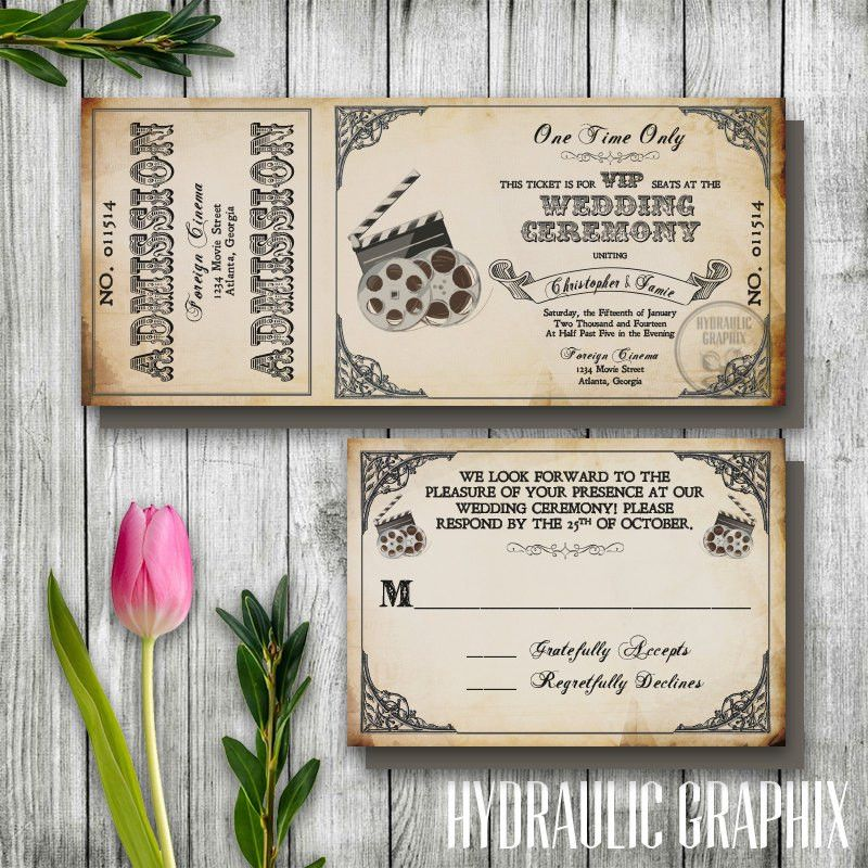 Vintage Film Wedding Ticket Invitation Printable Ticket